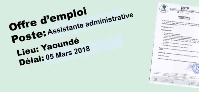 Recrutement d'une assistante administrative