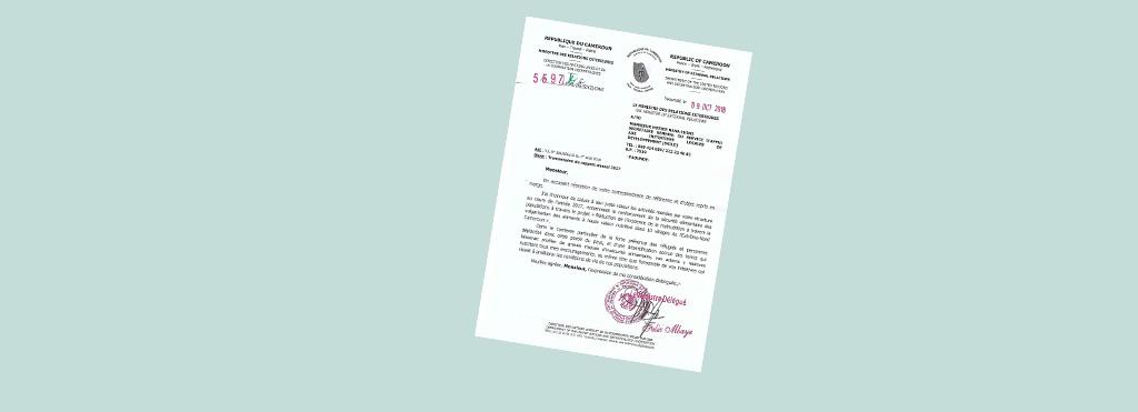 Lettre de félicitations du Ministère des relations extérieures du Cameroun