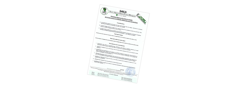 Directives SAILD sur la prise en compte de la lutte contre le corona virus dans ses interventions